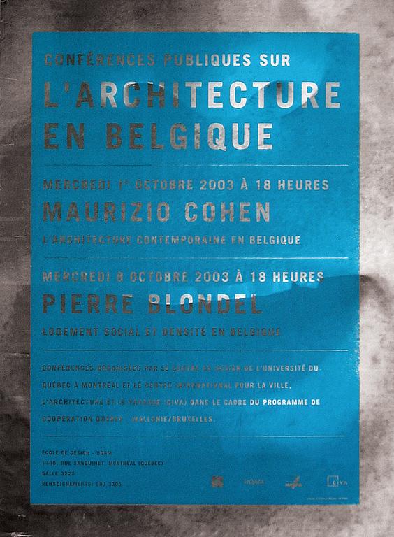 2003 - Événement - Conférences publiques sur l'architecture en Belgique ©Stéphane Halmai-Voisard