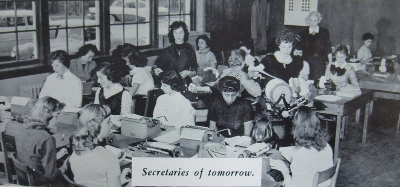 """""""Secretaries of tomorrow"""" learn how to type on a manual typewriter and use the Bingo machine at UHS in 1956."""