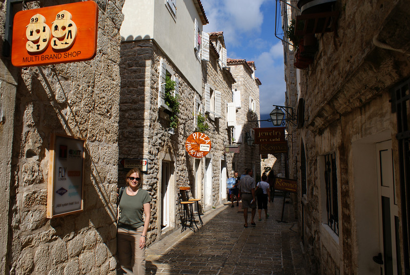 A day later she was back on her feet briefly.  This is a town called Budva - a really nice walled town right by the Med.