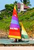 Colorful catamaran on the soft powdery sand of Kailua Beach