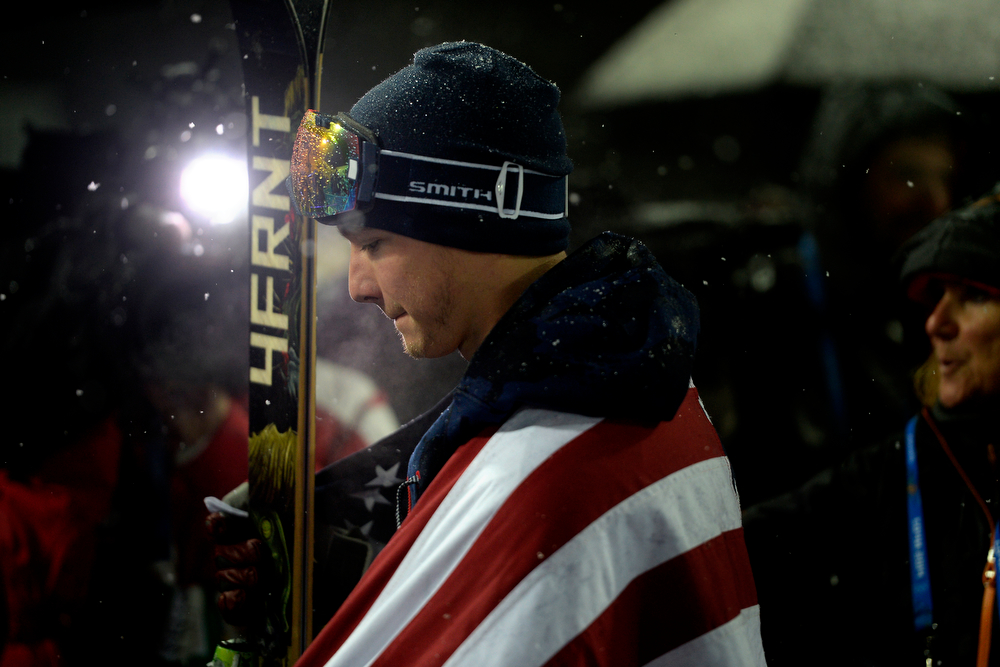 . Gold medalist David Wise after winning the men\'s ski halfpipe final. Sochi 2014 Winter Olympics on Tuesday, February 18, 2014. (Photo by AAron Ontiveroz/The Denver Post)