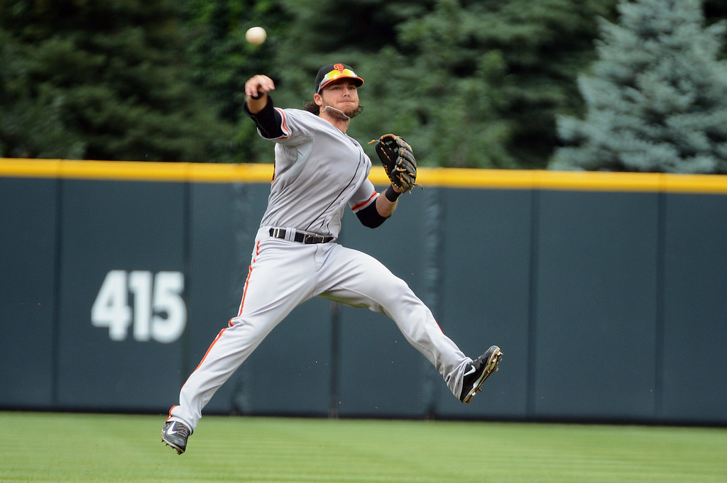 . Brandon Crawford #35 of the San Francisco Giants throws to first base during the first inning of the game against the Colorado Rockies at Coors Field on June 30, 2013 in Denver, Colorado.  (Photo by Garrett W. Ellwood/Getty Images)