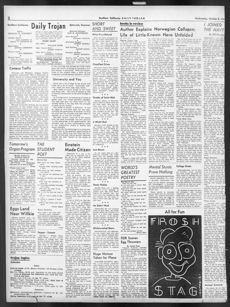 Daily Trojan, Vol. 32, No. 14, October 02, 1940
