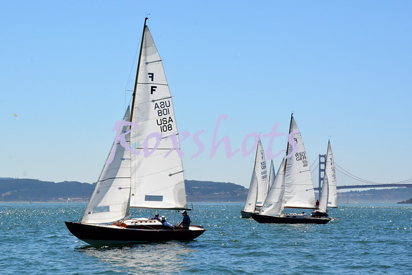 International Folkboat regatta at CYC, day #2 on the city front west of Alcatraz, Tues. 9/8/15