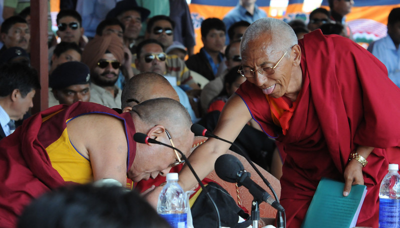 HHDL with the Head Lama of Thiksey Monastery (the man who got me the special pass)