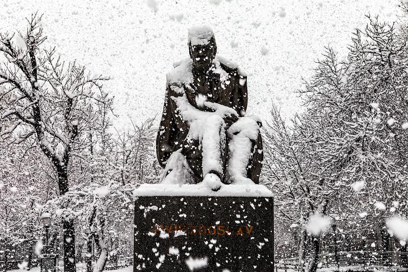 Hviezdoslav in the snow