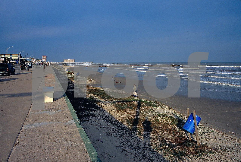 Sea wall in Galveston, Texas to protect the city from hurricanes and sea level rise.