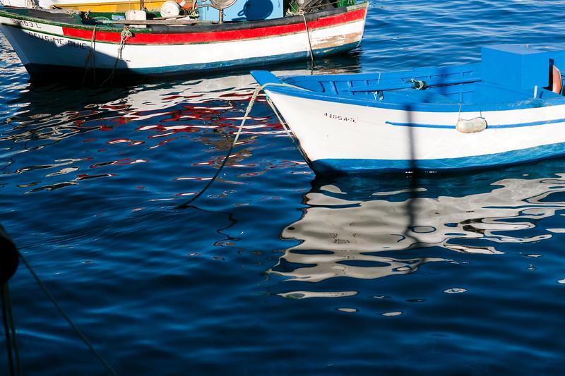 Moored boats, town of Sagres, municipality of Vila do Bispo, district of Faro, region of Algarve, southwestern Portugal