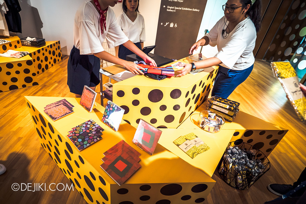 National Gallery Singapore - Yayoi Kusama: Life Is The Heart of A Rainbow / Gallery & Co. pop-up shop at Level 3 selling Yayoi Kusama souvenir items