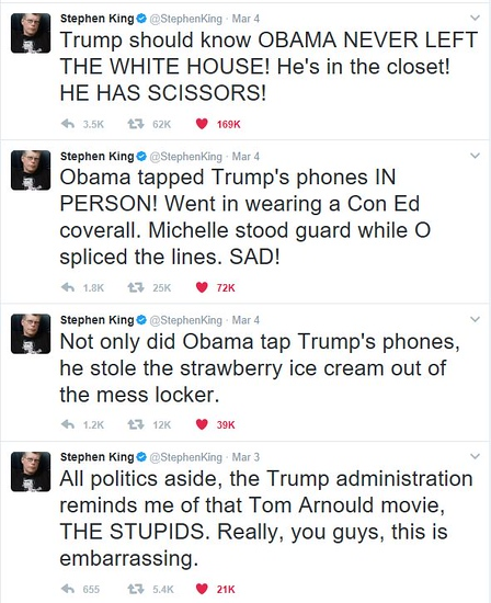 tweets by Stephen King about Donald Trump