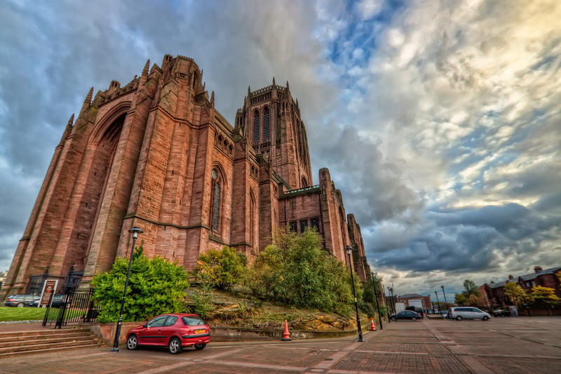 Liverpool Cathedral  Shot taken in front of the Liverpool Cathedral.  HDR from three shots, taken with Canon 450D with Sigma 10-20mm lens, handheld.