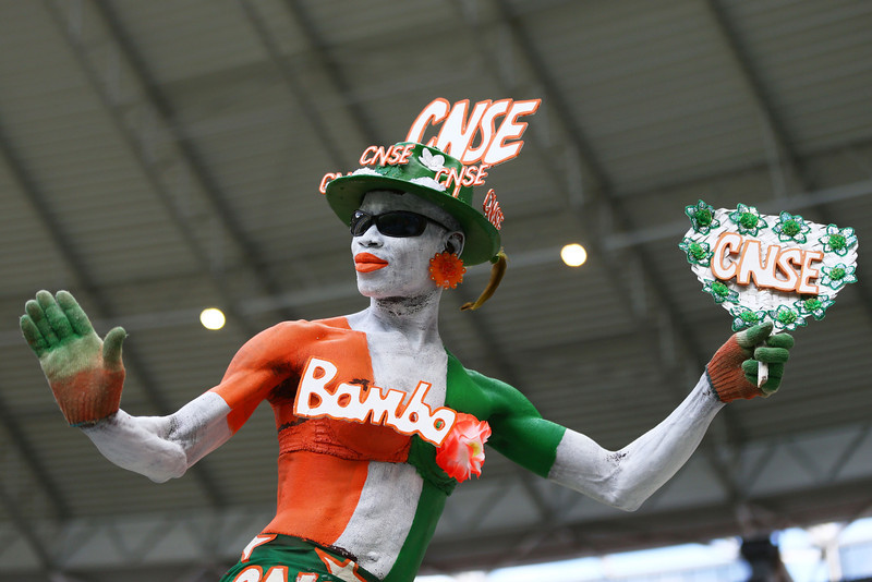 . An Ivory Coast fan enjoys the atmosphere prior to kickoff during the 2014 FIFA World Cup Brazil Group C match between Greece and the Ivory Coast at Castelao on June 24, 2014 in Fortaleza, Brazil.  (Photo by Michael Steele/Getty Images)