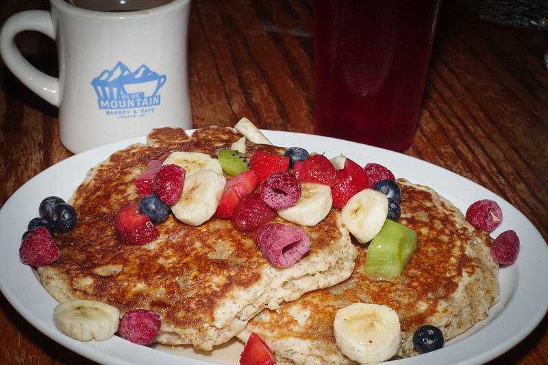 Whole grain pancakes, fruit, and coffee at the Blue Mtn Cafe