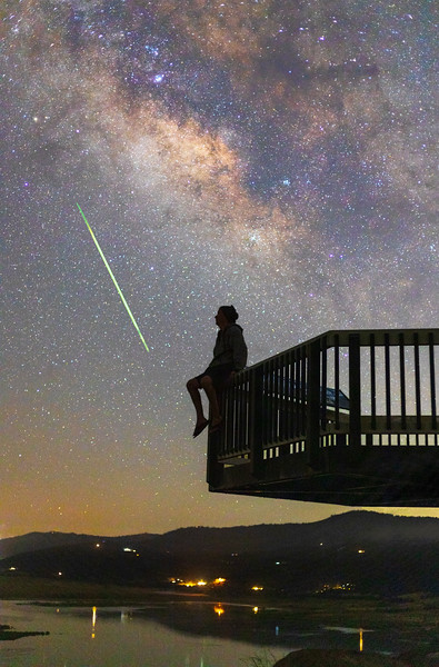 Stargazing Selfie With a Surprise Meteor.
