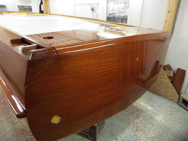 Transom view with six coats applied.