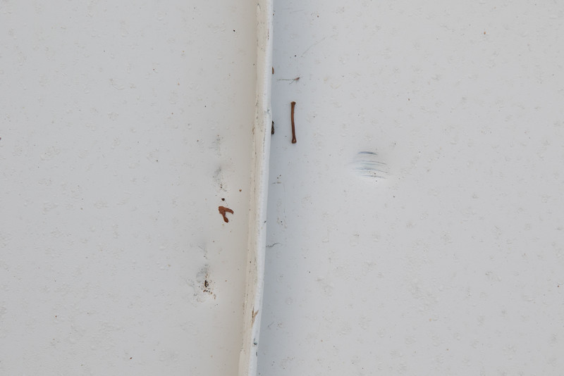 Dents (from hammer?) found in a several places on the roof.