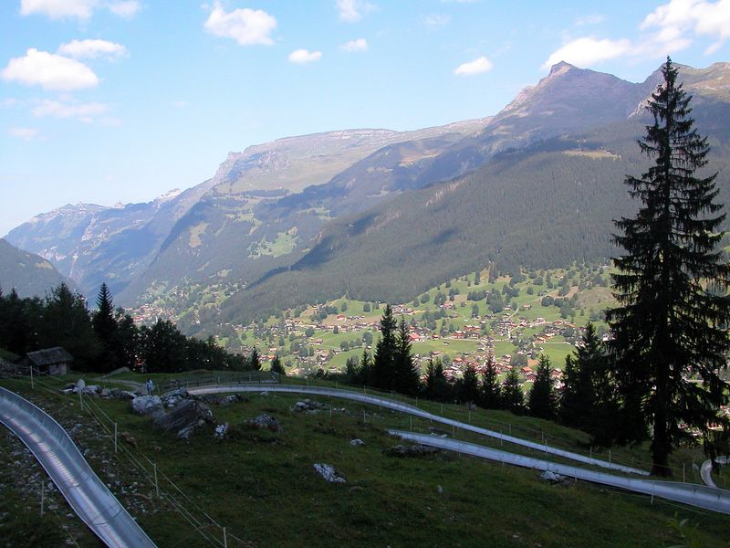 Rodelbahn course with Grindelwald below.