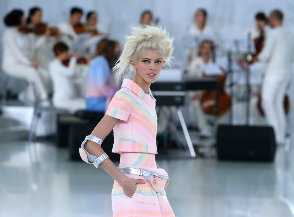 . A model wears a creation during Chanel\'s Spring-Summer 2014 Haute Couture fashion collection presented in Paris, Tuesday, Jan.21, 2014. (AP Photo/Jacques Brinon)