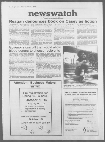 Daily Trojan, Vol. 105, No. 20, October 01, 1987