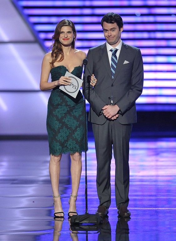 . Lake Bell, left, and Bill Hader speak at the ESPY Awards on Wednesday, July 17, 2013, at Nokia Theater in Los Angeles. (Photo by John Shearer/Invision/AP)