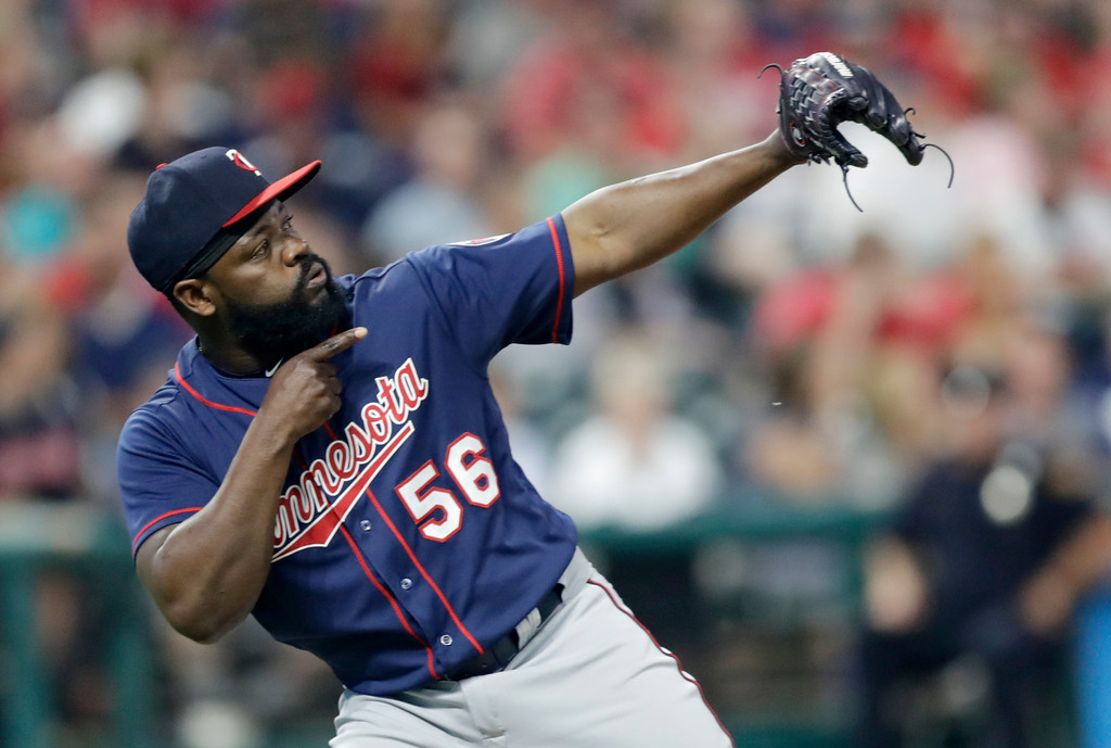 . Minnesota Twins relief pitcher Fernando Rodney reacts after the Twins defeated the Cleveland Indians 6-3 in a baseball game Friday, June 15, 2018, in Cleveland. (AP Photo/Tony Dejak)
