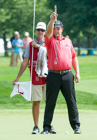 06/24/18 Wesley Bunnell | Staff The final day of The Travelers Championship at TPC River Highlands in Cromwell on Sunday June 24. Beau Hossler who finished T2 with a -14 lines up his putt.