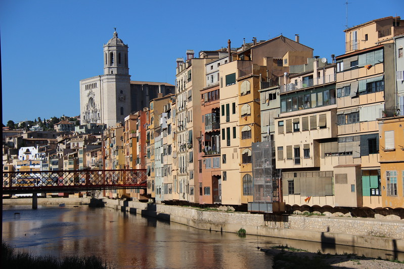 Girona buildings overlook the river.