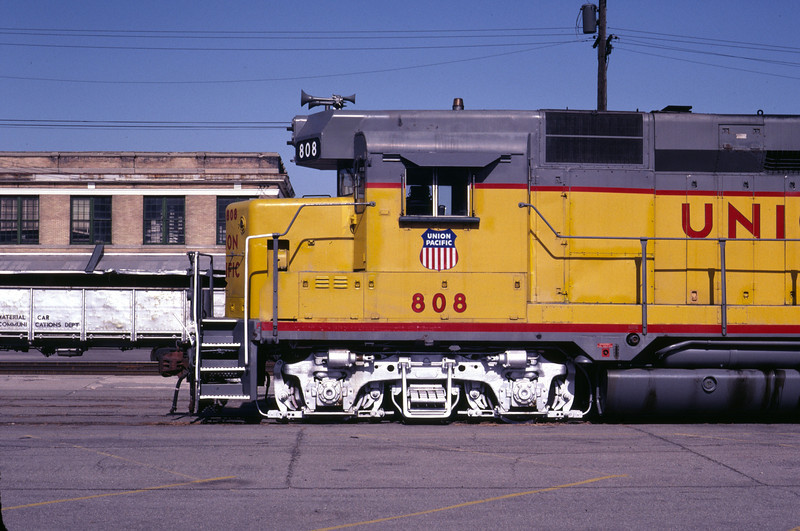 Side view of the special enlarged numberboard box on UP GP30 808. The modification was intended to provide space for a crew's grips after cabooses were no longer used, beginning in late 1984. On display in Salt Lake City in June 1983. (Don Strack Photo)