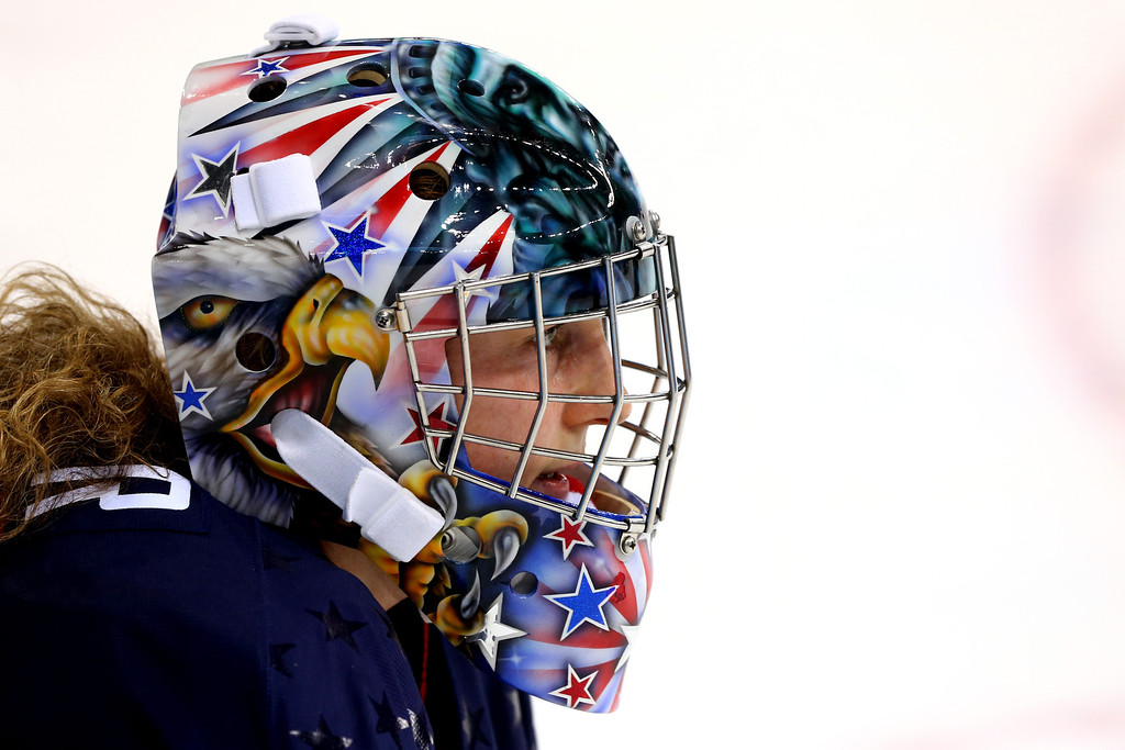 . Jessie Vetter #31 of the United States looks on in the second period against Canada during the Women\'s Ice Hockey Preliminary Round Group A game on day five of the Sochi 2014 Winter Olympics at Shayba Arena on February 12, 2014 in Sochi, Russia.  (Photo by Martin Rose/Getty Images)