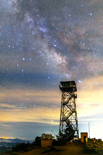 Partly Cloudy Milky Way Over Highpoint Fire Lookout.