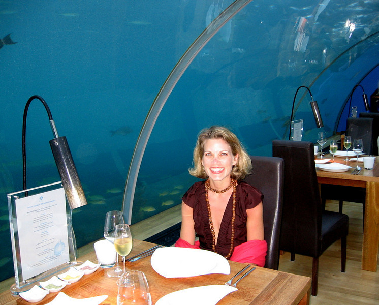 Audra at Ithaa - a restaurant 12 meters under water in Rangali Bay!