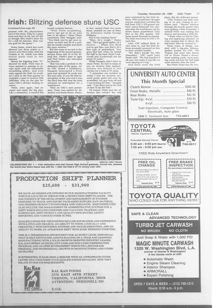 Daily Trojan, Vol. 107, No. 56, November 29, 1988