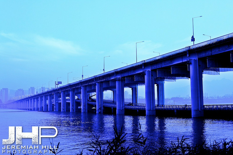 """Itaewon Bridge in Blue #1"", Seoul, South Korea, 2009 Print KOR3B831-029"