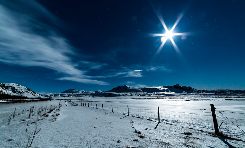 Moonlit Southern Iceland