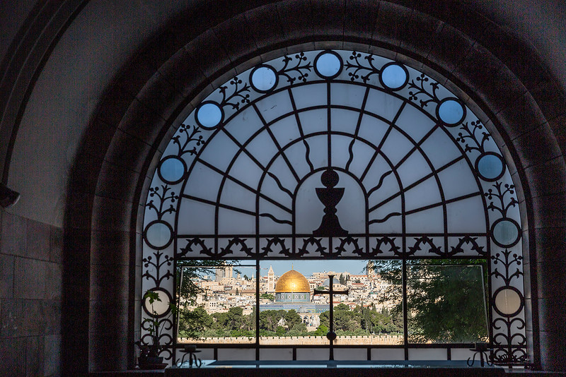 Inside Dominus Flevit with a view of the Old City