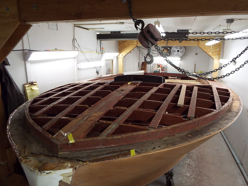 Front deck view after turning the hull right side up.