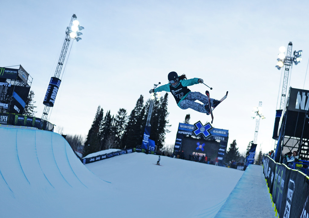. Angeli VanLaanen practices for the Women\'s Ski Super Pipe Finals at the Winter X Games in Aspen, January, 24 2014. The X Games will continue to be in Aspen at Buttermilk Mountain through 2019. (Photo by RJ Sangosti/The Denver Post)