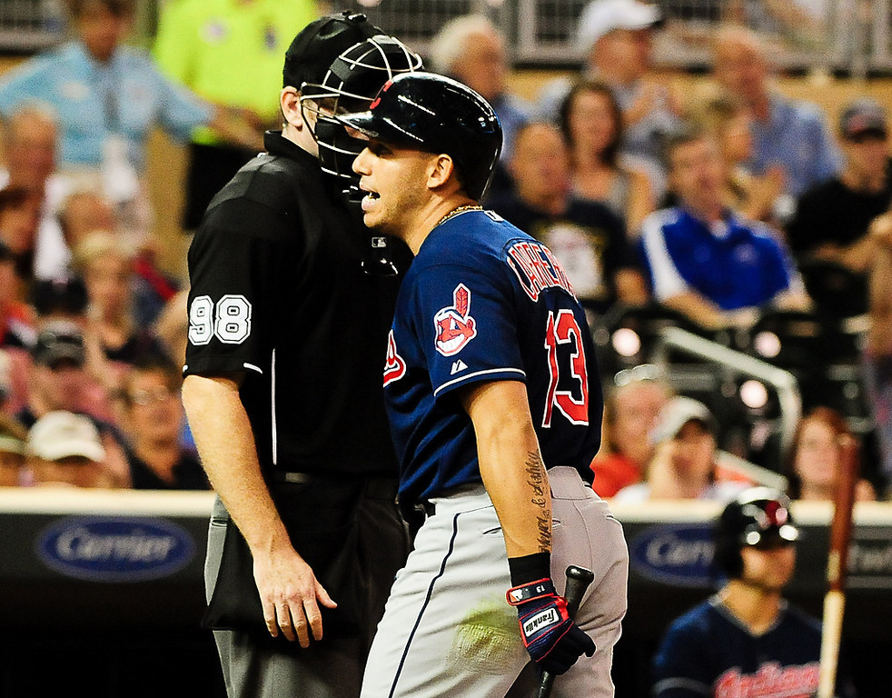 . Cleveland Indians shortstop Asdrubal Cabrera has a word with the umpire after he struck out looking in the 8th inning. (Pioneer Press: Ben Garvin)