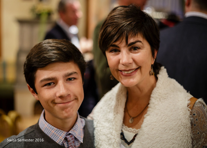 Hunter and his mother at Parents' Weekend