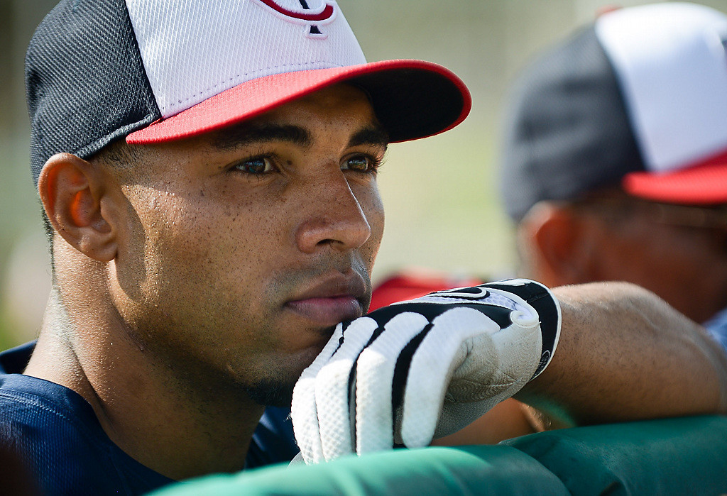 . Non-roster outfielder Jermaine Mitchell waits his turn to get in the cage. (Pioneer Press: Ben Garvin)