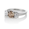 1.47ctw Fancy Brown Old Mine Cut and Old European Cut Diamond 3-Stone Ring 1