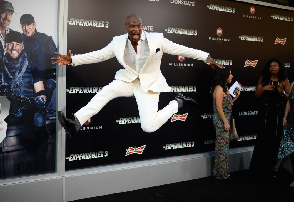 """. Terry Crews arrives at the premiere of \""""The Expendables 3\"""" at TCL Chinese Theatre on Monday, Aug. 11, 2014, in Los Angeles. (Photo by Jordan Strauss/Invision/AP)"""