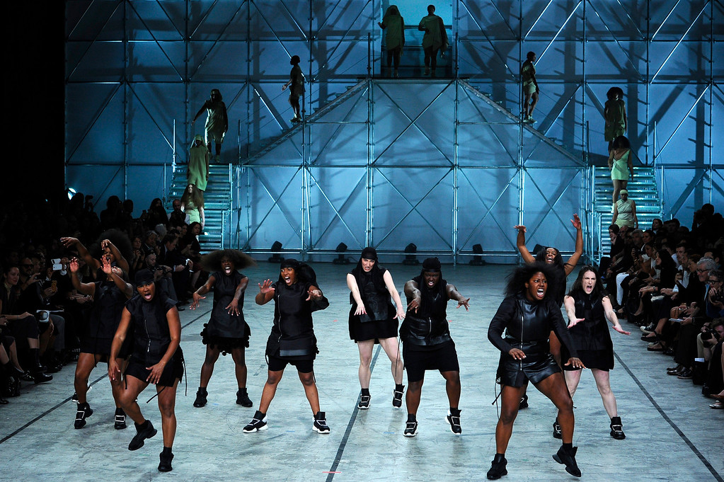 . Models present creations as part of fashion designer Rick Owens ready-to-wear Spring/Summer 2014 fashion collection presented in Paris, Thursday, Sept. 26, 2013. (AP Photo/Zacharie Scheurer)