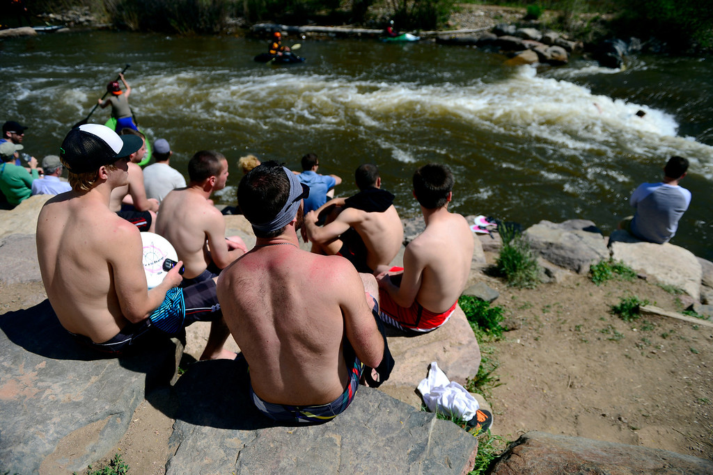 . Spectators watch the action during Golden Games at the Clear Creek Whitewater Park. (Photo by AAron Ontiveroz/The Denver Post)