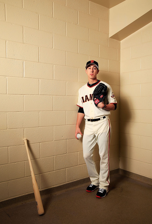 . SCOTTSDALE, AZ - FEBRUARY 20:  Pitcher Tim Lincecum #55 poses for a portrait during San Francisco Giants Photo Day on February 20, 2013 in Scottsdale, Arizona.  (Photo by Jamie Squire/Getty Images)