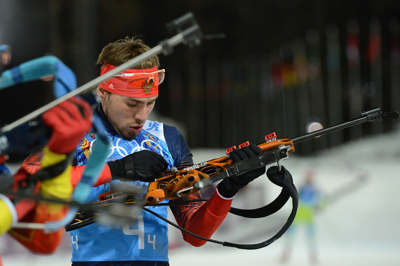 . Russia\'s Anton Shipulin competes at the shooting range in the Men\'s Biathlon 4x7.5 km Relay at the Laura Cross-Country Ski and Biathlon Center during the Sochi Winter Olympics on February 22, 2014, in Rosa Khutor, near Sochi. (KIRILL KUDRYAVTSEV/AFP/Getty Images)