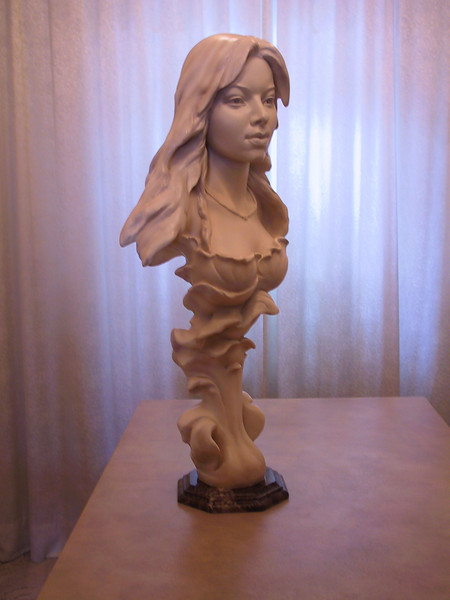 """Olesiya"" Portrait from live model. Marbelized plaster. Life size. For private collection. 2004."