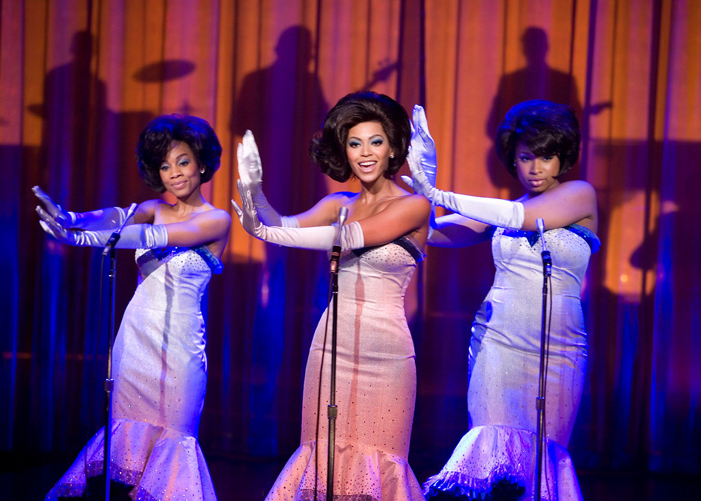 """. In this undated publicity photo released by Paramount Pictures, Anika Noni Rose, left, Beyonce Knowles, center, and Jennifer Hudson appear a scene from the film \""""Dreamgirls.\"""" Sharen Davis was the costume designer for the film.  (AP Photo/Paramount Pictures, David James)"""