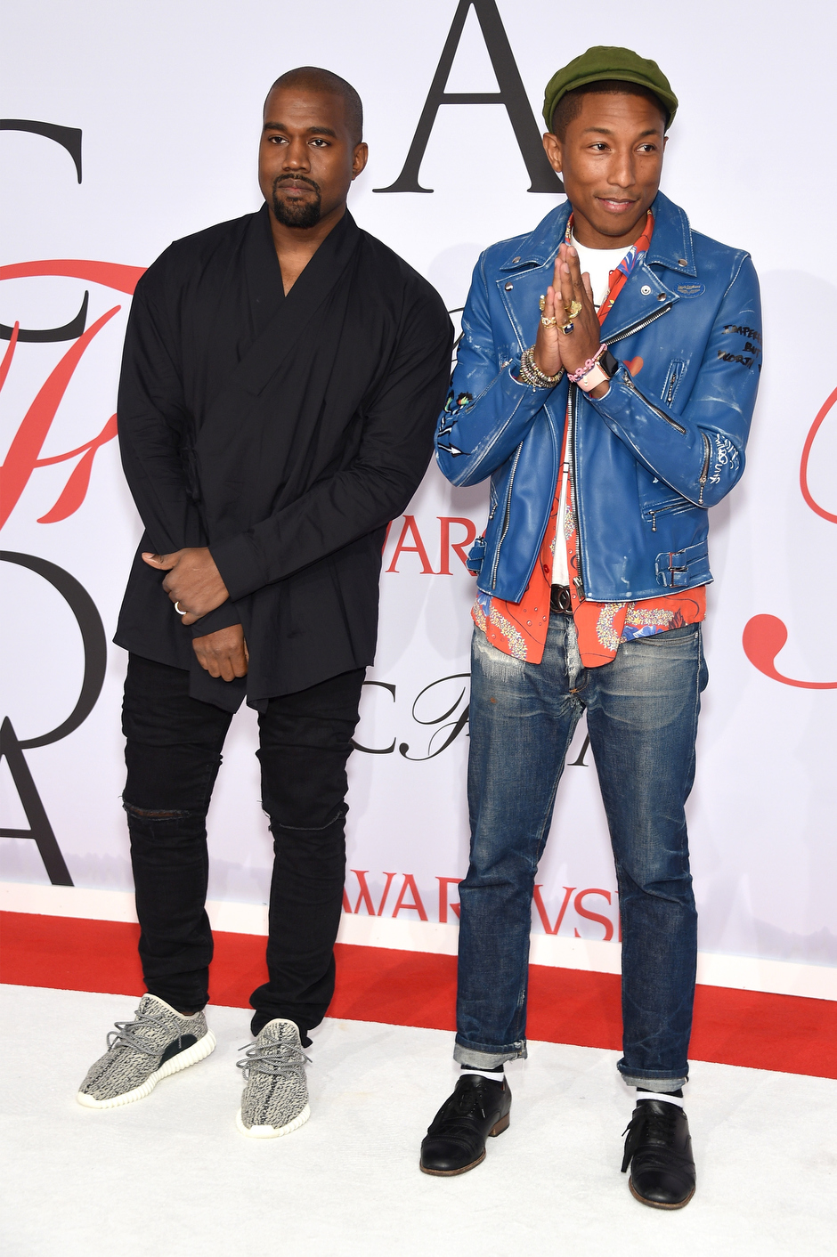 . Kanye West and Pharrell Williams attend the 2015 CFDA Fashion Awards at Alice Tully Hall at Lincoln Center on June 1, 2015 in New York City.  (Photo by Dimitrios Kambouris/Getty Images)