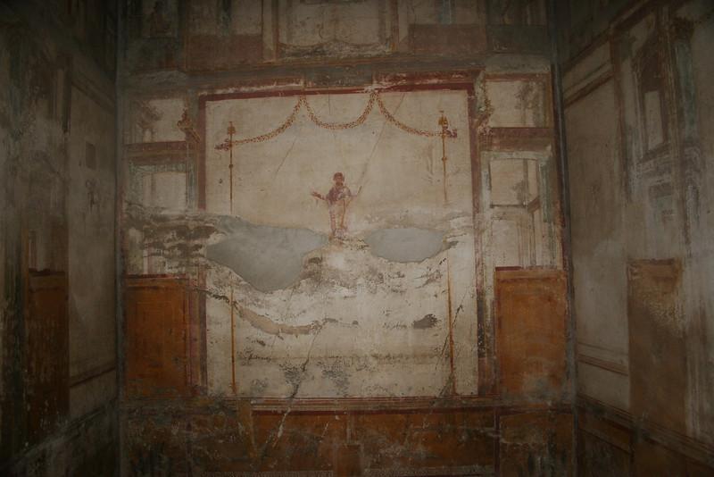 Pompei, Italy; A bedroom that survived Vesuvius.